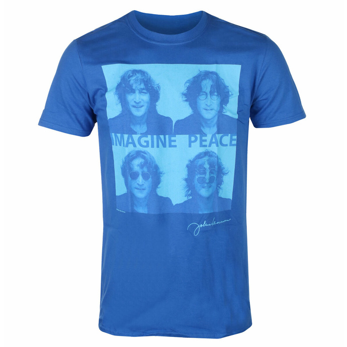 Maglietta da uomo John Lennon - Glasses 4 Up BLU - ROCK OFF