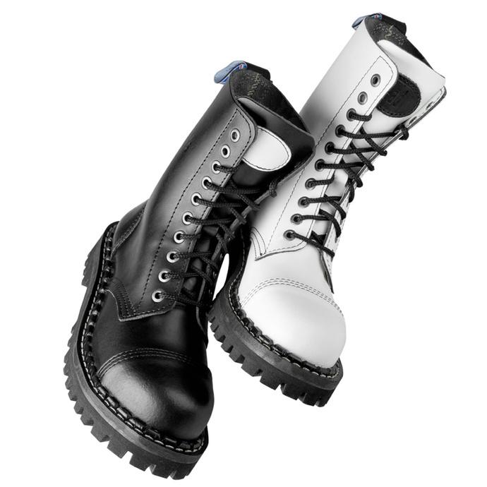 stivali STEADY´S - 10 occhielli - Nero e bianca