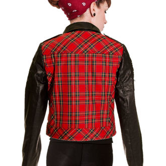 giacca primaverile / autunnale donna - Red Tartan Faux Leather - BANNED, BANNED