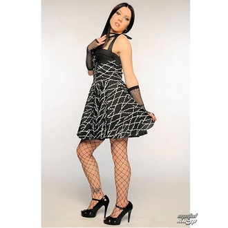 vestito donna Barbed Filo Zip Dress (Nero/Bianco)- HELL BUNNY, HELL BUNNY