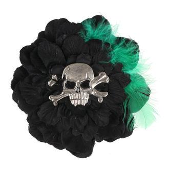 Fermacapelli Cranio - Nero / verde
