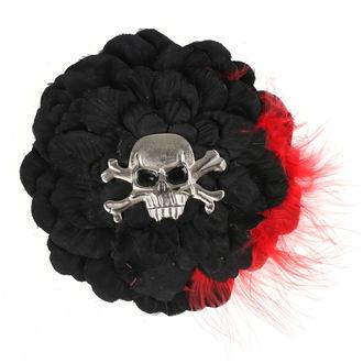 Fermacapelli Cranio - Nero/ Rosso piume