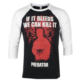 Maglietta da uomo con maniche a 3/4 Predator - If It Bleeds - Baseball - Bianco nero - HYBRIS, HYBRIS, Predator