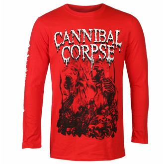 Maglietta da uomo a maniche lunghe CANNIBAL CORPSE - PILE OF SKULLS - ROSSO - PLASTIC HEAD, PLASTIC HEAD, Cannibal Corpse