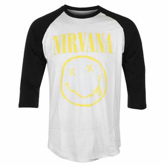 Maglietta da uomo con maniche a ¾ Nirvana - Smiley giallo - Wht/BL Raglan - ROCK OFF, ROCK OFF, Nirvana