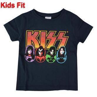 Maglietta da bambini KISS - Logo Faces & Icons - NAVY - ROCK OFF, ROCK OFF, Kiss