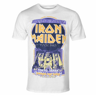Maglietta da uomo Iron Maiden - Powerslave Japan Flyer WHT - ROCK OFF, ROCK OFF, Iron Maiden