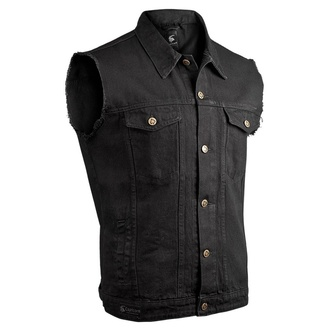 Gilet CAPRICORN ROCKWEAR - black with frayed arms, CAPRICORN ROCKWEAR