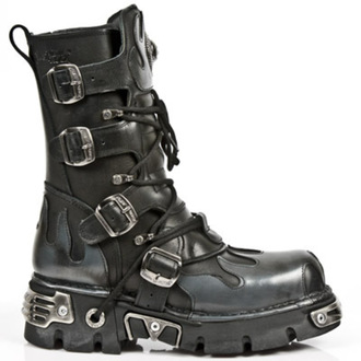 stivali in pelle - Flame Boots (591-S2) Black-Grey - NEW ROCK, NEW ROCK