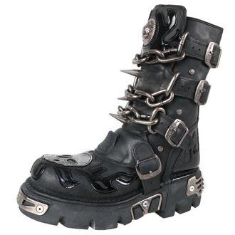 stivali in pelle - Chain Boots (727-S1) Black - NEW ROCK, NEW ROCK