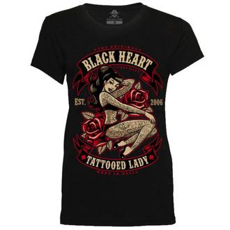 t-shirt street donna - TATTOED LADY - BLACK HEART, BLACK HEART