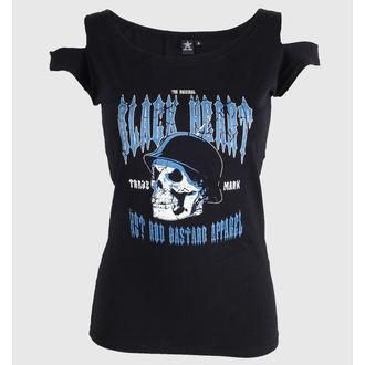 t-shirt street donna - Vintage skull - BLACK HEART - skull, BLACK HEART