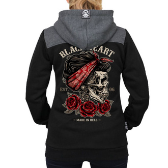 felpa con capuccio donna - PIN UP SKULL RG - BLACK HEART, BLACK HEART