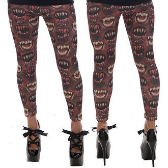 pantaloni donna (leggings) KREEPSVILLE SIX SIX SIX - Monster Bocca - Red, KREEPSVILLE SIX SIX SIX