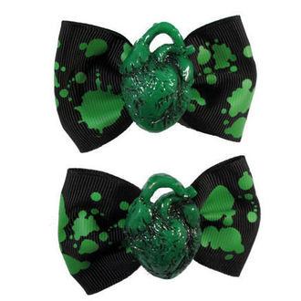 fermaglio KREEPSVILLE SIX SIX SIX - Capelli Bow Heart - Verde, KREEPSVILLE SIX SIX SIX