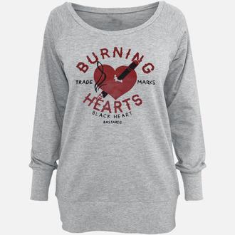 felpa senza cappuccio donna - Burning - BLACK HEART, BLACK HEART