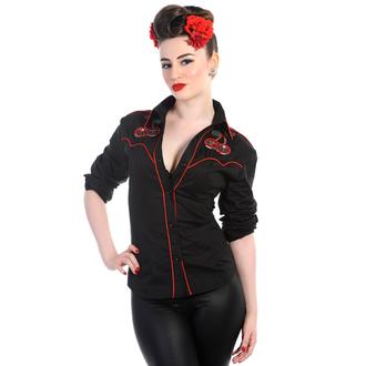 camicia donna con maniche lunghe BANNED - Ciliegia Skulls - Nero