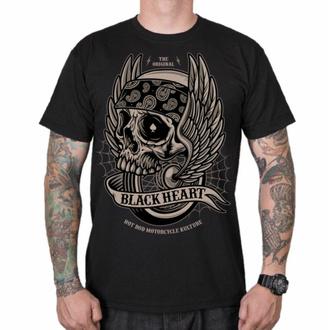 Maglietta da uomo BLACK HEART - WINGS SKULL - NERO, BLACK HEART