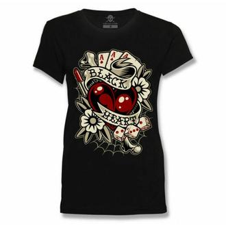 Maglietta da donna BLACK HEART - Rockabilly HEART - NERO, BLACK HEART