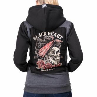 Felpa con cappuccio da donna BLACK HEART - PIN UP SKULL - GRIGIO, BLACK HEART