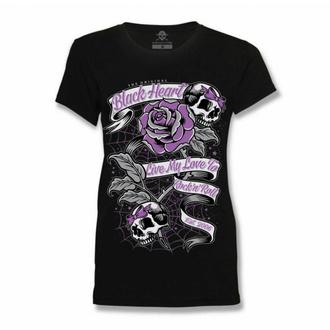 Maglietta da donna BLACK HEART - RIBBON ROSE - NERO, BLACK HEART