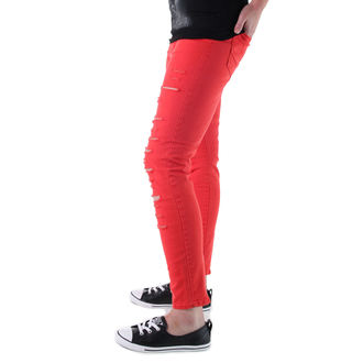 pantaloni donna VANS - High Rise Back Zip Flame - Scarlet, VANS