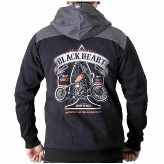 Felpa da uomo con cappuccio BLACK HEART - ORANGE CHOPPER - NERO, BLACK HEART