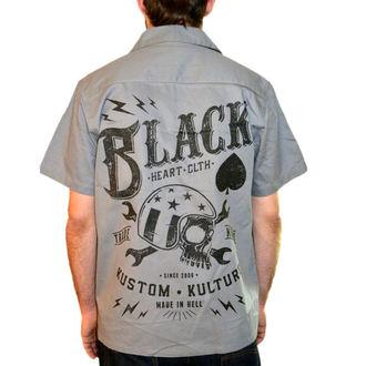 camicia uomo BLACK HEART - Chiave Skull - Nero, BLACK HEART