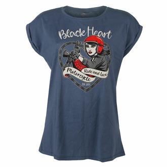 Maglietta da donna BLACK HEART - BIKE GIRL - BLU, BLACK HEART