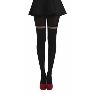 collant PAMELA MANN - Opaco Tights With Sheer  Stripe - Nero, PAMELA MANN