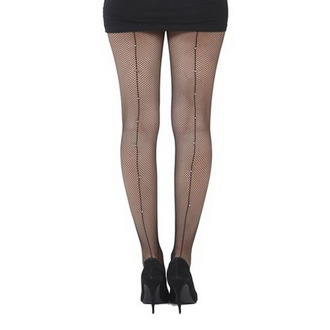 collant PAMELA MANN - Fishnet Cuciti Tights Nero With Diamante Cucitura - Nero, PAMELA MANN