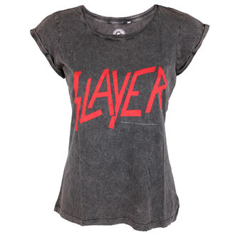 t-shirt metal donna Slayer - Classic Logo Acid Wash - ROCK OFF, ROCK OFF, Slayer