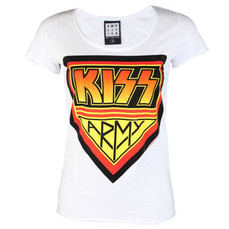 t-shirt metal donna Kiss - DISTRESSED ARMY WHITE - AMPLIFIED, AMPLIFIED, Kiss
