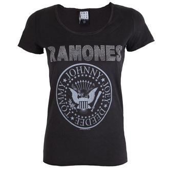 t-shirt metal donna Ramones - LOGO SILVER DIAMANTE - AMPLIFIED, AMPLIFIED, Ramones