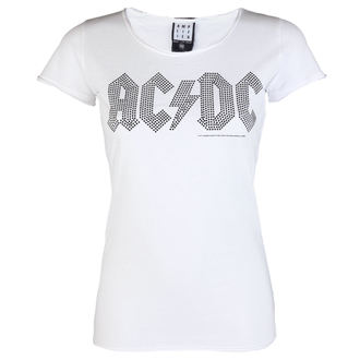t-shirt metal donna AC-DC - LOGO WHITE BLACK - AMPLIFIED, AMPLIFIED, AC-DC