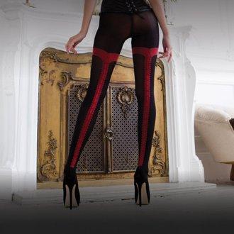 collant LEGWEAR - charley opaque - nero con cucitura rossa, LEGWEAR