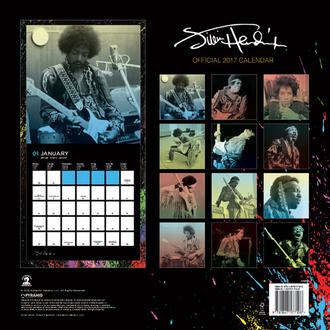 calendario Jimi Hendrix 2017, PYRAMID POSTERS, Jimi Hendrix