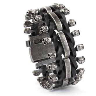 braccialetto ETNOX - Skulls on Leather - SA515