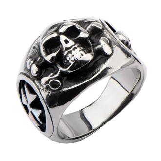 anello INOX - SKULL BACK CROSS BONE, INOX
