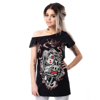 t-shirt donna - CAT MUERTE OFF SHOULDER - VIXXSIN, VIXXSIN