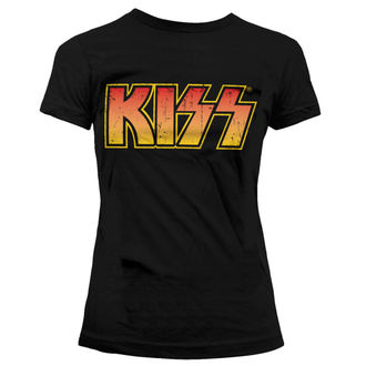 t-shirt metal donna Kiss - Distressed Logotype - HYBRIS, HYBRIS, Kiss