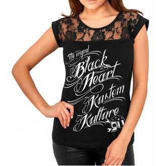 t-shirt street donna - KUSTOM KULTURE - BLACK HEART, BLACK HEART
