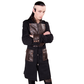 cappotto maschile Aderlass - Steam Punk Coat Denim Nero-Marrone, ADERLASS