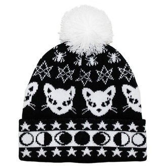 Beanie TOO FAST - WITCHY WOMAN BLACK CAT & MOONS POM POM, TOO FAST