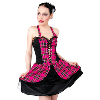 vestito donna Nero Pistol - Punk Mini Dress Tartan Pink, BLACK PISTOL