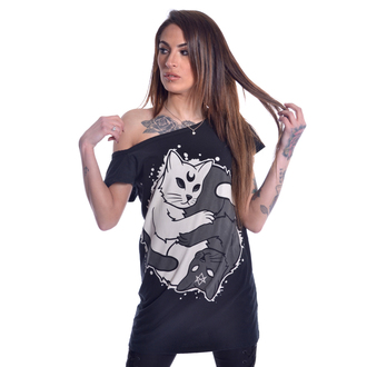 t-shirt donna - YING YANG KITTY OFF SHOULDER - HEARTLESS, HEARTLESS