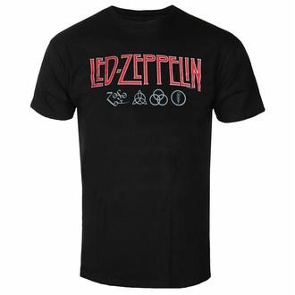 Maglietta da uomo Led Zeppelin - Logo & Symbols - Nero, NNM, Led Zeppelin