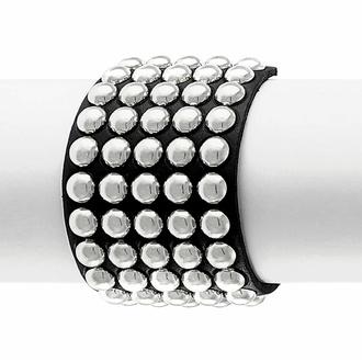 Bracciale NERO SERPENTE CON BORCHIE (5 file), Leather & Steel Fashion