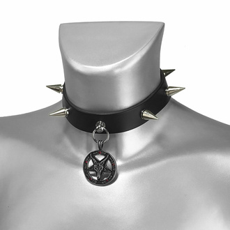 Collare BAPHOMET ROSSO CRYSTAL SPIKE PELLE CHOKER, Leather & Steel Fashion