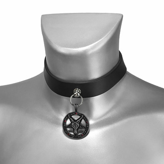 Collare BAPHOMET RED CRYSTAL CHOKER, Leather & Steel Fashion